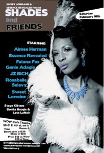Shades & Friends at WOW Cafe Theater Feb 16th 9pm